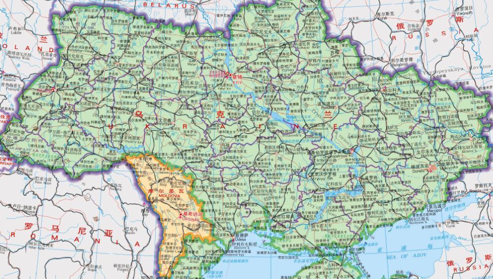 教育教学 地图查询 → 乌克兰地图全图高清版   乌克兰东连俄罗斯,南