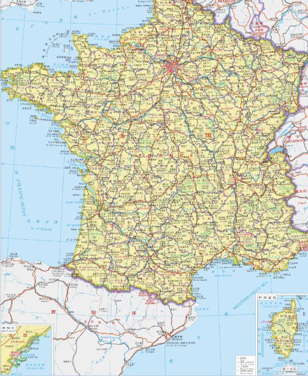法国地图中文版全图 电子版