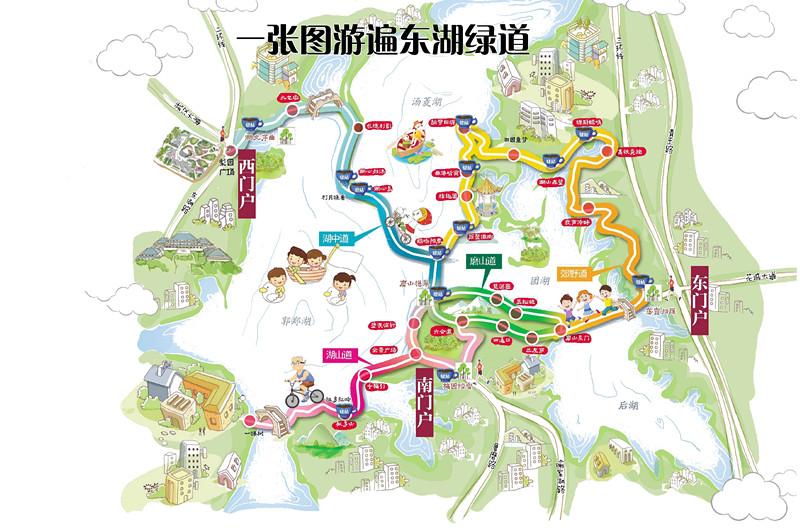武汉东湖绿道二期路线图 武汉东湖绿道路线图2017官方版 极光下载站图片