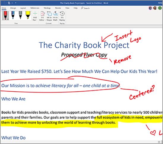 Microsoft Office 365 家庭版Word 中的笔迹编辑器