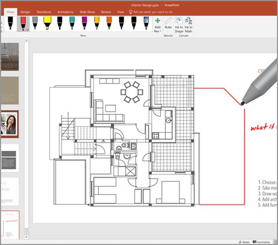 Microsoft Office 365 家庭版PowerPoint 中的墨迹书写