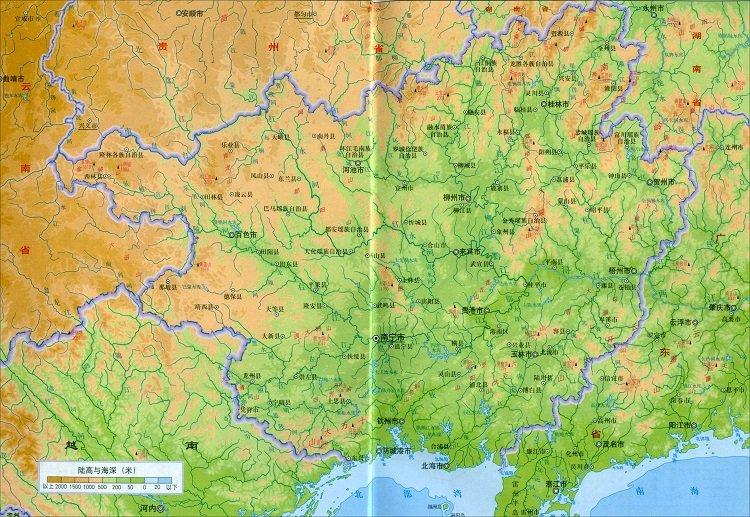 广西地形图可放大版