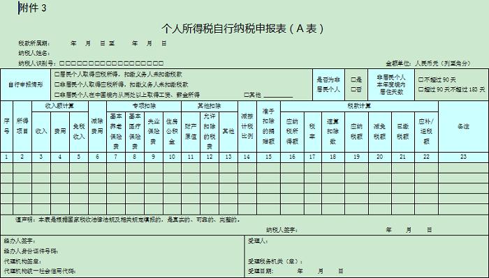 个人所得税年度自行纳税申报表