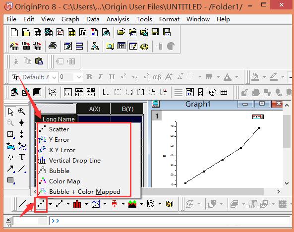 以及点线图,操作同上   还有柱状图,操作如   7.准备作图和分析所需的数据   8.导出或打开图形以备发布或介绍   originpro8.0教程   双击打开originpro 8.0,输入数据;点击图标左上角,对数据选中   点击点图出现如图所示