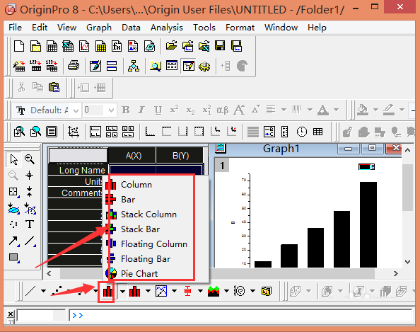 originpro8.0教程   双击打开originpro 8.0,输入数据;点击图标左上角,对数据选中   点击点图出现如图所示   以及点线图,操作同上   还有柱状图,操作如
