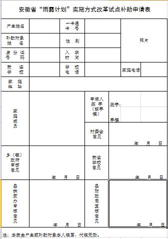 安徽雨露���申�表模板 打印版