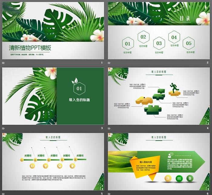 绿色植物ppt模板免费版