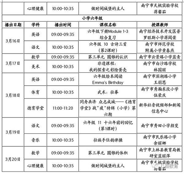 2020广西空中课堂课程表 高清完整版