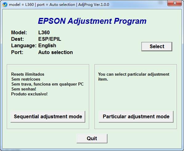 爱普生l363清零软件