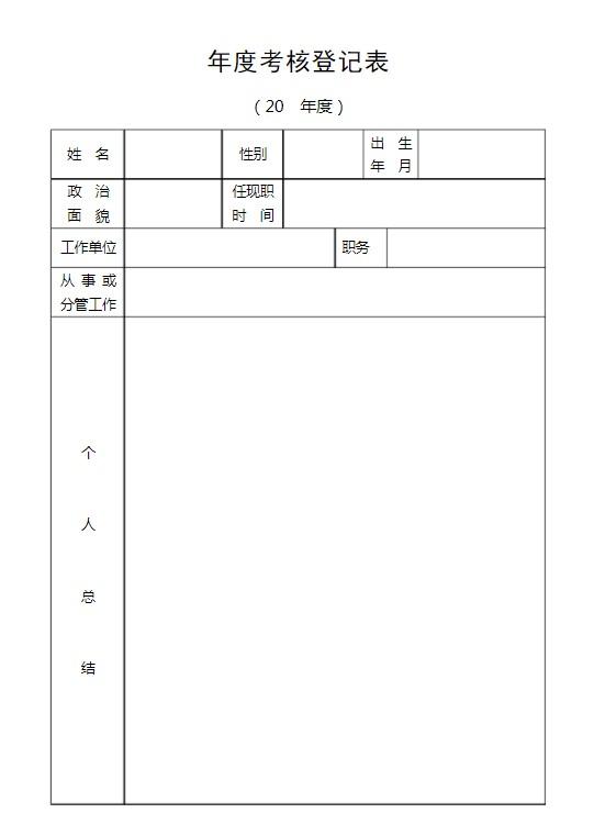 工作人员年度考核登记表 电子版