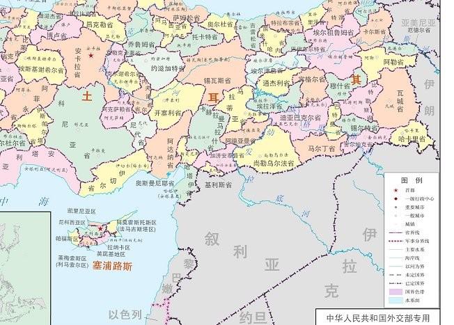 塞浦路斯地图中文版