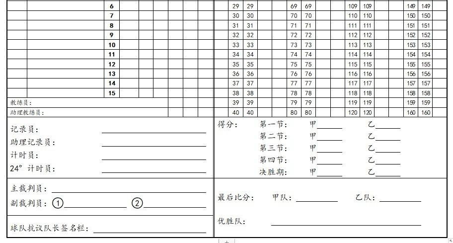 篮球比赛记录表电子版 word版