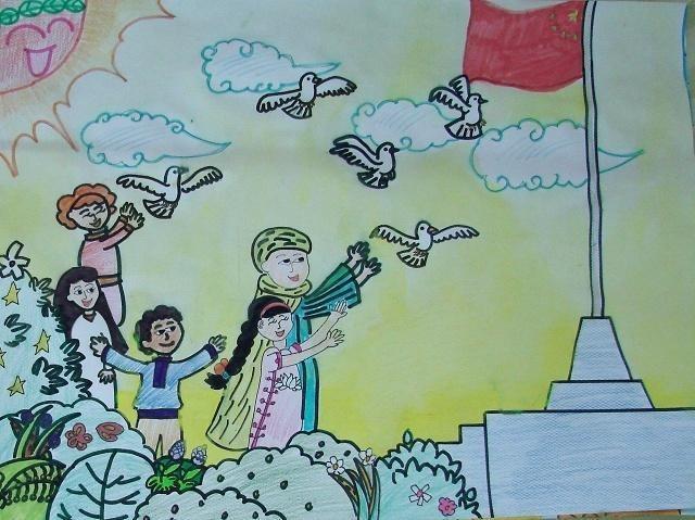 国庆节绘画作品大全