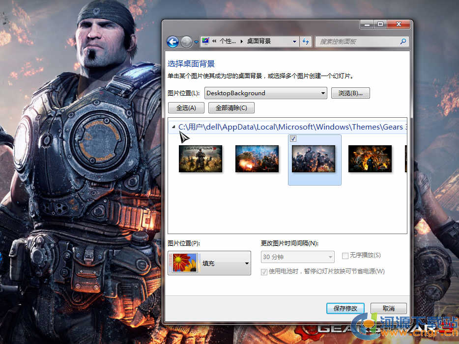 《Gears of War 3 Launch》Windows 7幻灯片主题 绿色版