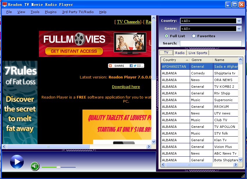 Readon TV Movie Radio Player 7.6.0.0 官方安�b版 可�制��直播播放器�件