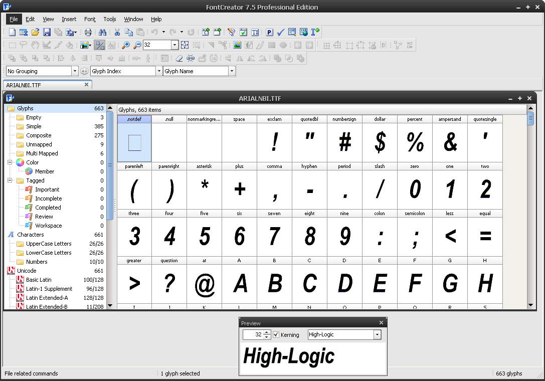 High-Logic FontCreator Professional Edition(字体编辑软件) 7.5.0.517 绿色特别版