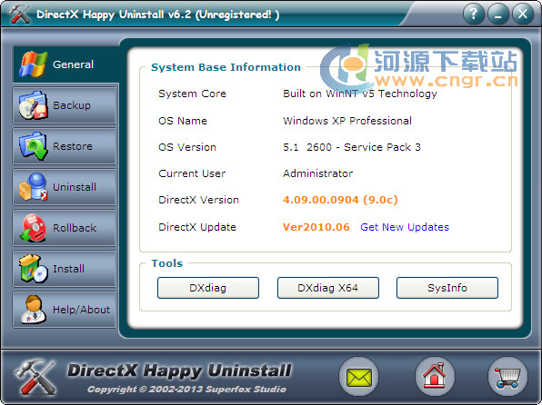 DirectX Happy Uninstall v6.2 绿色版 directx卸载工具