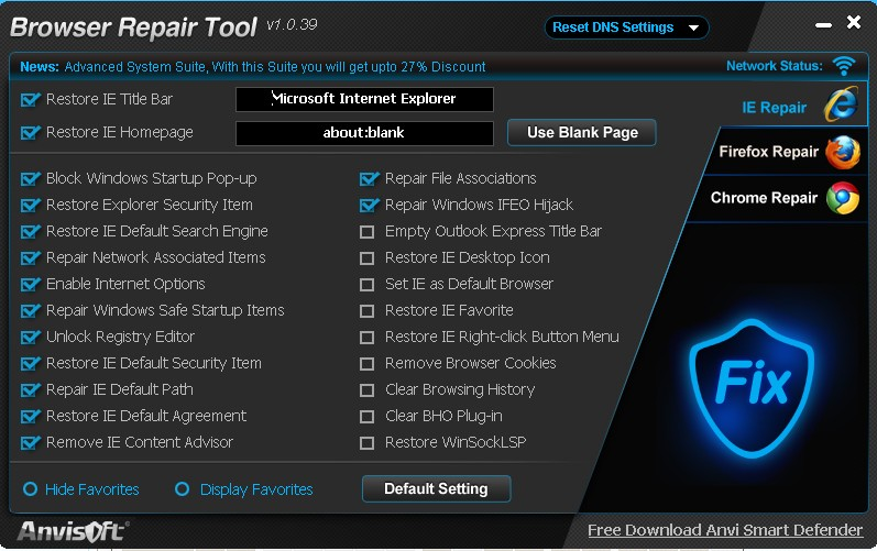 Anvi Browser Repair Tool 1.0.39 官方免�M�G色版 修��ie�g�[器工具