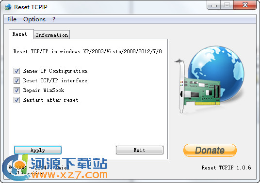 Reset TCP/IP v1.06 �G色版 TCP/IP重置工具
