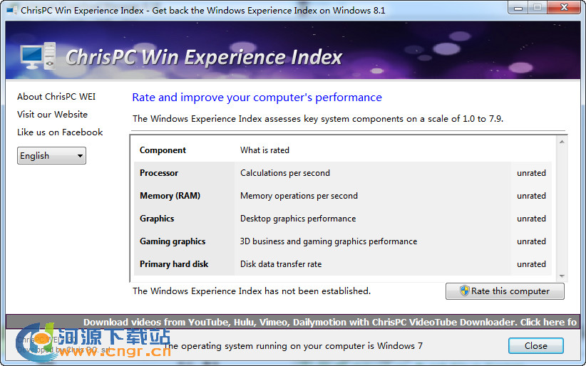 "ChrisPC Win Experience Index 1.30 �G色版 第三方""Windows �w�指��""小工具"